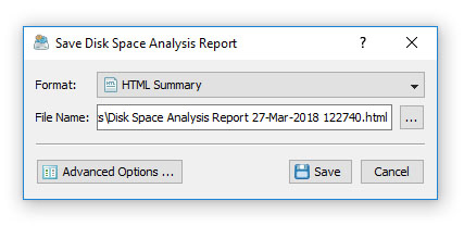Save Disk Space Analysis Report