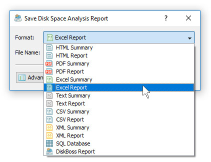 Save Excel Disk Space Analysis Report
