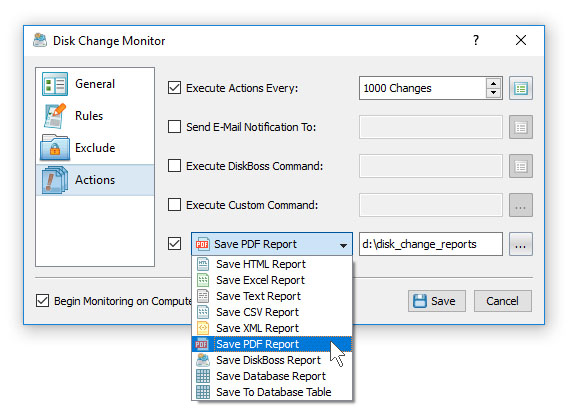 Disk Change Monitoring Reports
