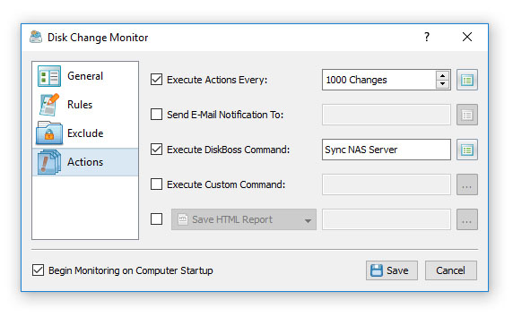 Custom Disk Change Monitoring Actions