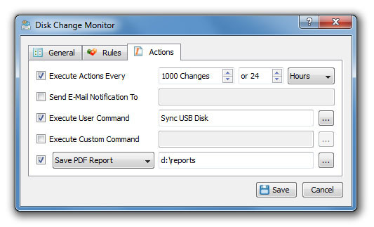 Disk Change Monitoring Custom Commands