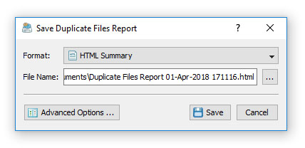 DiskBoss Duplicate Files Save Report