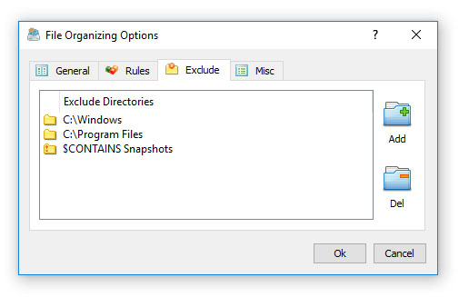 File Organizing Command Exclude Directories