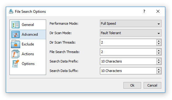 File Search Advanced Options