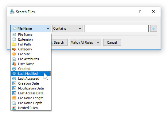 Searching Files in File Classification Results