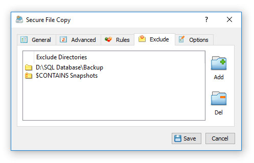 Secure File Copy Exclude Directories