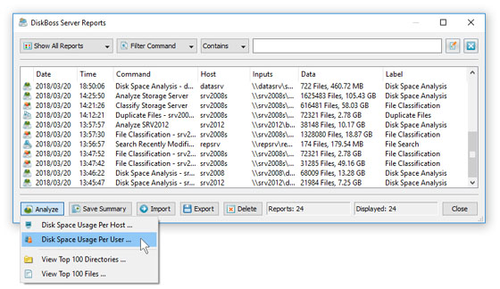 Analyzing Disk Space Usage Per User